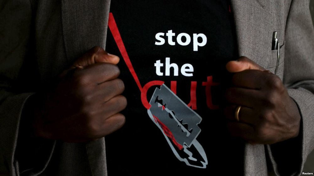 T-shirt worn by a gentleman during a social event advocating against the practice at the Imbirikani Girls High School in Imbirikani, Kenya, April 21, 2016.