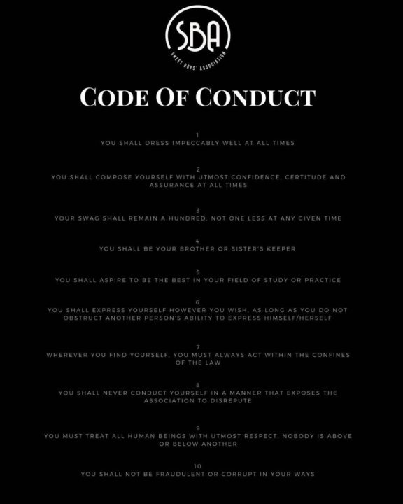 Image result for #sweetboyassociation code of conduct