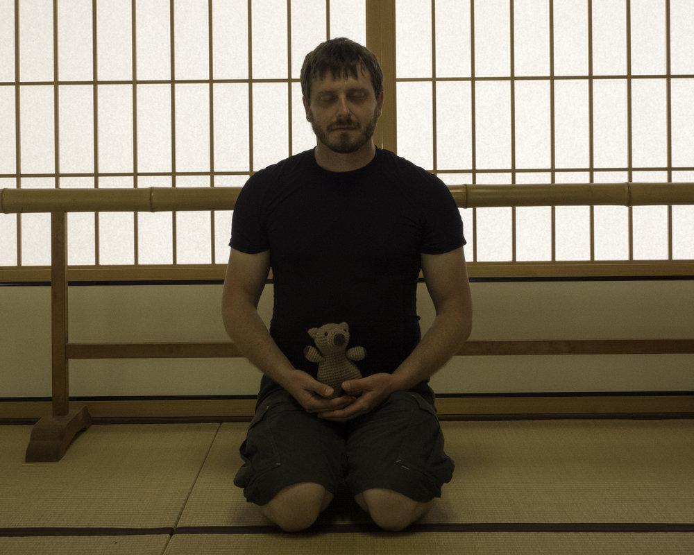 Gettin' my sit on at  Tenryū-ji  Zen shrine in Kyoto!