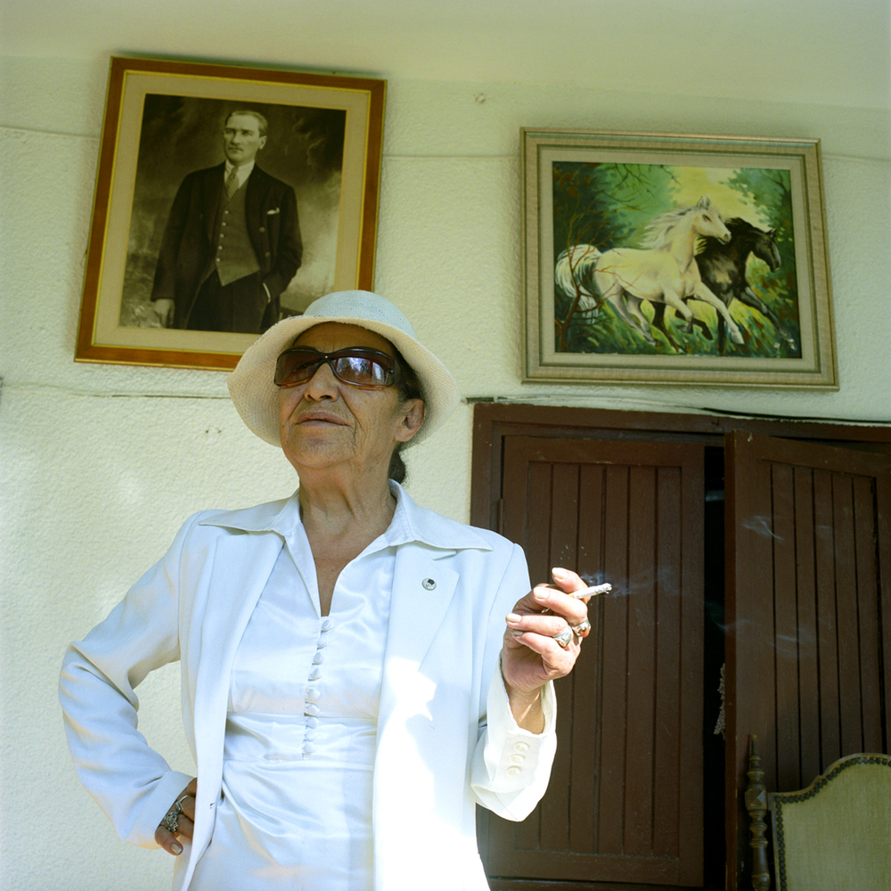 Ataturk fan at her home in Ankara, Turkey