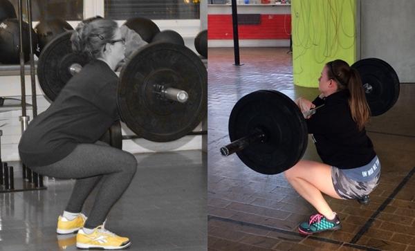 Eine ihrer ersten Klassen im Februar 2014 und ihr Front Squat im 2016!