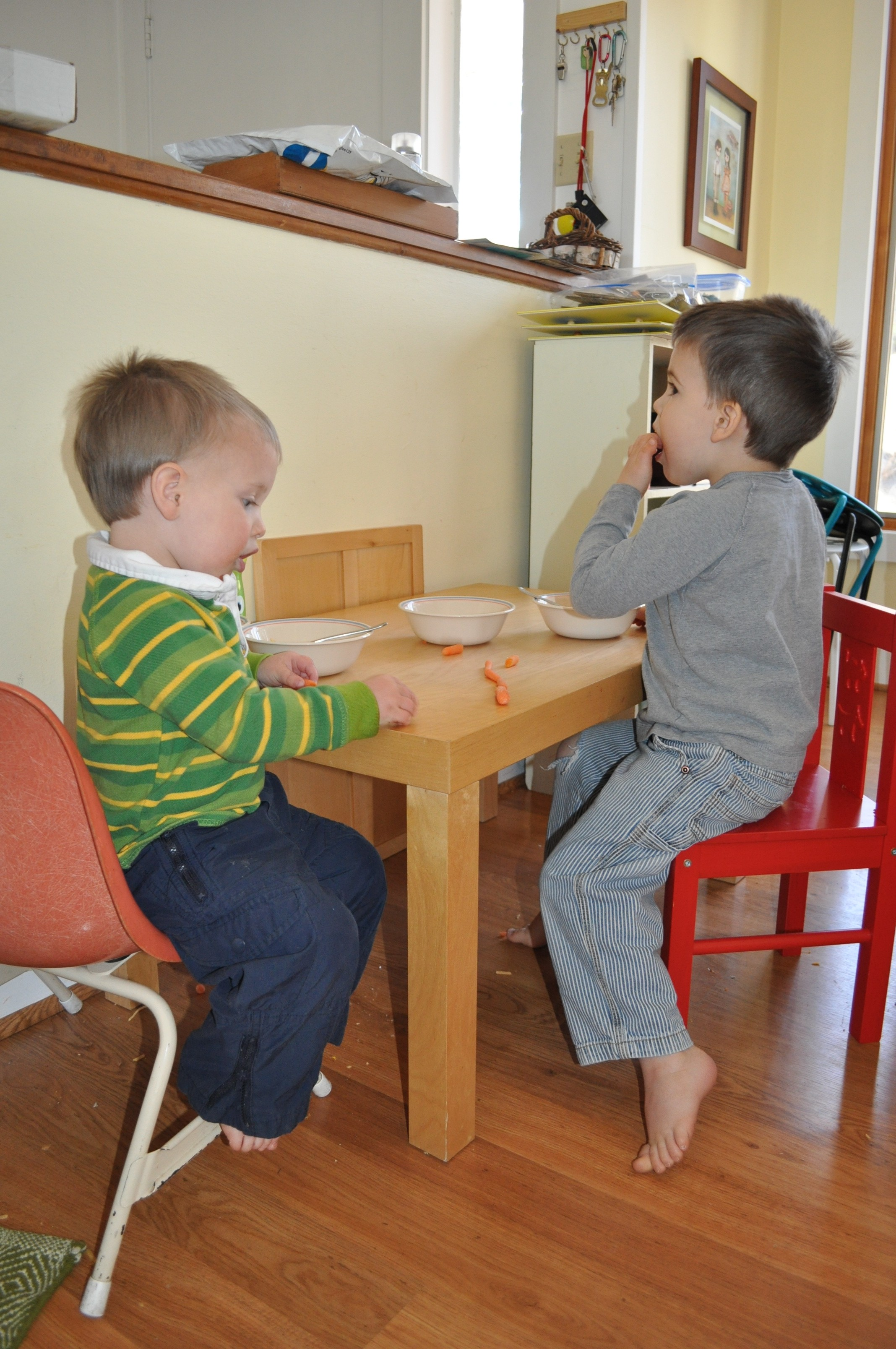 My kids eating lunch at their table.