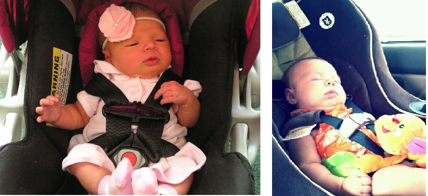 (L) One week old in her ill-fitting infant seat (with improper harness tightness and chest clip position). (R) Nearly three months old and much happier in a properly fitting and properly angled convertible car seat.