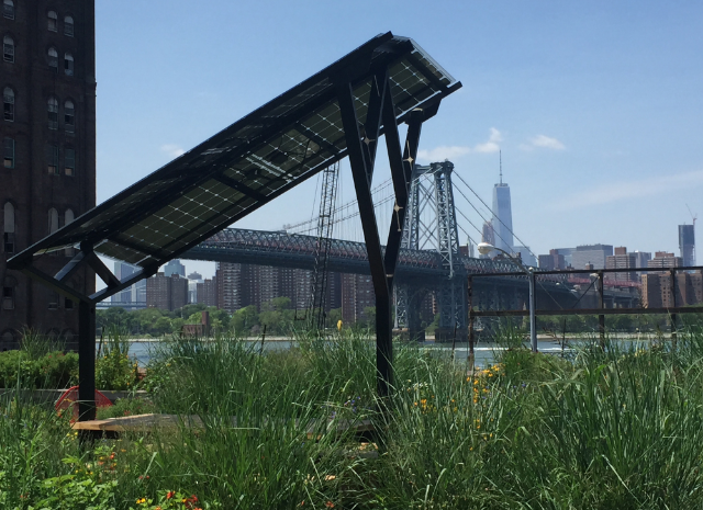 LOCATED ON THE ROOF GARDEN OF VICE MEDIA'S OFFICE IN BROOKLYN, NY, RIGHT NEXT TO THE DOMINO'S SUGAR FACTORY AND WILLIAMSBURG BRIDGE