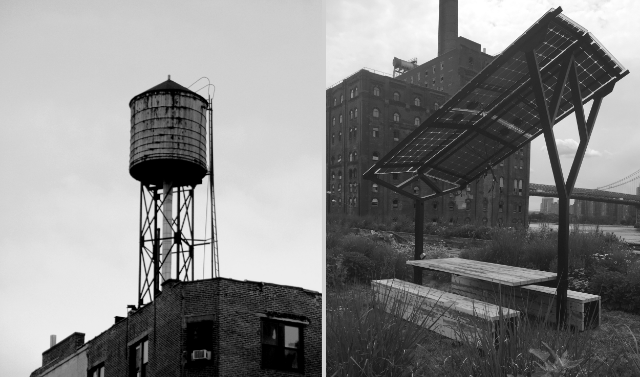 WE WANTED THE DESIGN TO CONTINUE AN URBAN NARRATIVE, SO WE USED RECLAIMED LUMBERFROM A BROOKLYN WATER TOWER. WE TOOK THE MATERIAL OF AN ICON OF NYC'S PAST AND USED IT TO GIVE FORM TO AN ICON OF A SUSTAINABLE FUTURE.