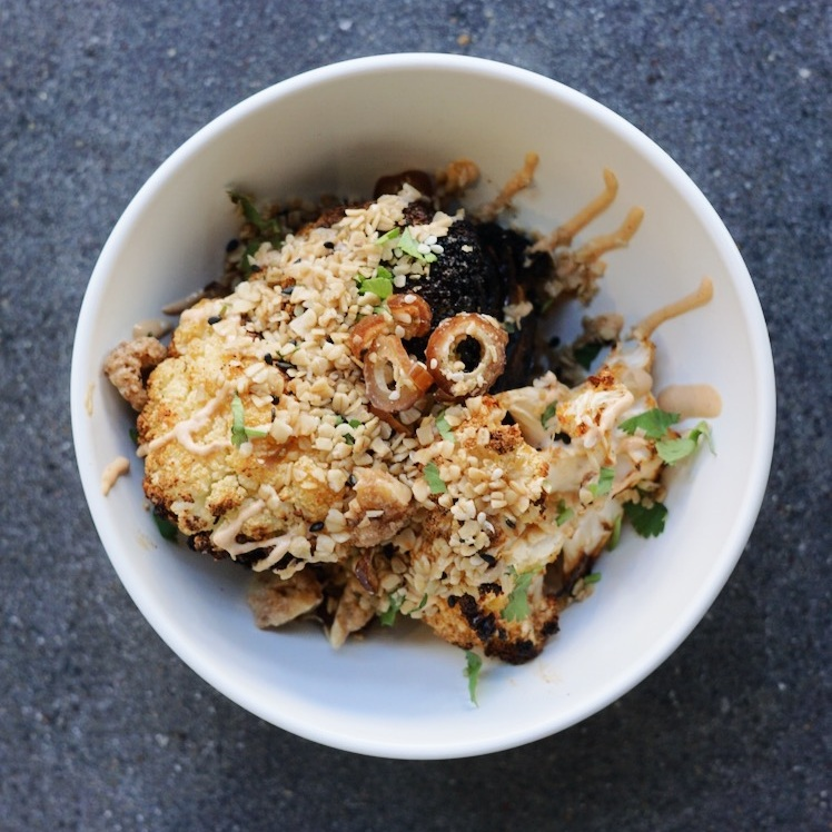 Charred Cauliflower - with harissa sesame yogurt, date granola