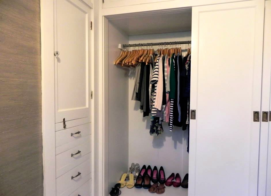 Here is a better view of my built-ins. (One without my head blocking the view!) You can see from the clothes hanging in the closet that my wardrobe has had a few updates, but is still fairly minimal.