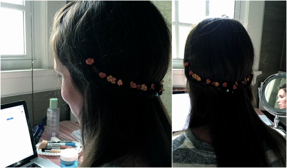 I forgot to take photos of my placeholder vanity but you can get a glimpse of it here in these photos my 8-tear-old took this evening. As I resisted pulling my hair out trying to figure out editing and uploading to Youtube-- she busied herself with twisting and braiding it. She then picked tiny flowers from the Lantana in our garden, working them into the braids. She photographed it with my phone so I could see what she had done. Unfortunately, the flowers were super stinky, so the look didn't last long.