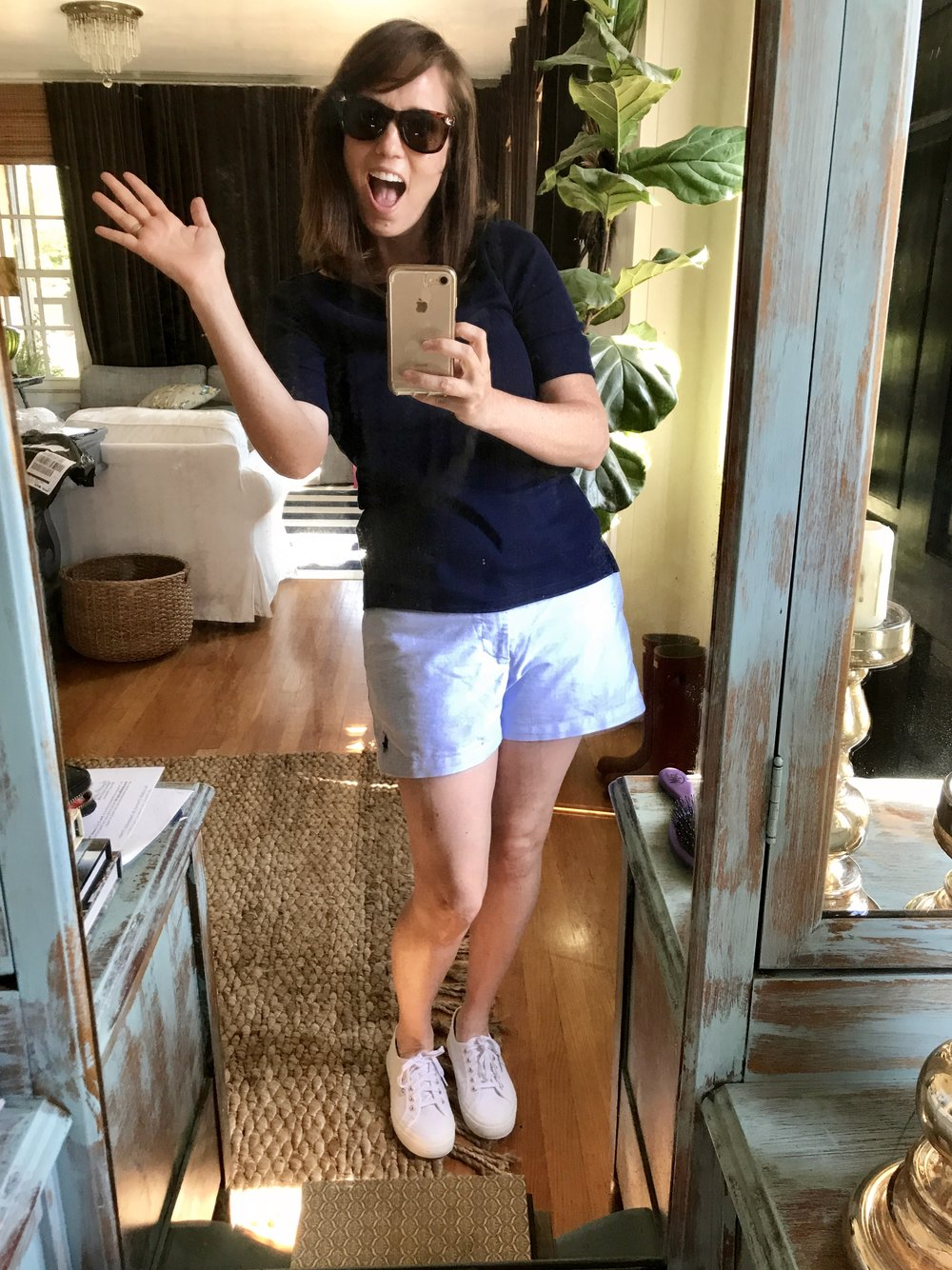 """Please, please excuse the silly photo. I'm writing this post from out of town and the only photo I have of me in the shorts is one I sent my seventeen-year-old son in a text that said, """"Hey! Guess who is going to be a last-minute counselor at your summer camp!"""" He was not amused."""