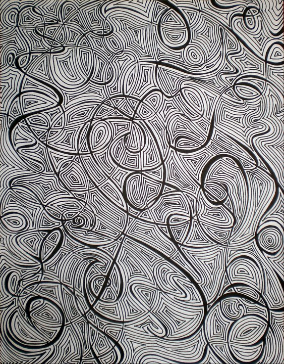 """Scribbles IV""   Ink on Paper, 2011"
