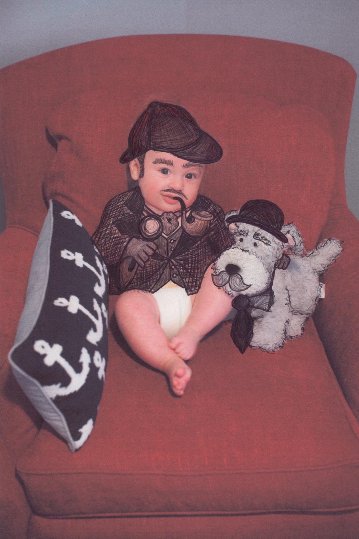 """Sherlock Holmes""  Ink on Paper, 2015"
