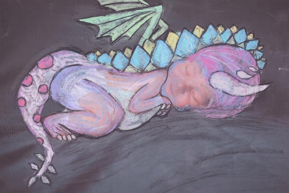 """Never Wake a Sleeping Dragon""  Chalk on Paper, 2015"