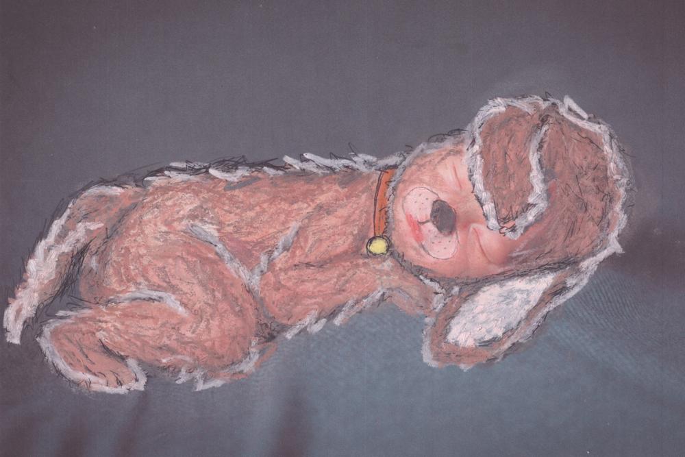 """""""Puppy Love""""  Chalk on Paper, 2015"""