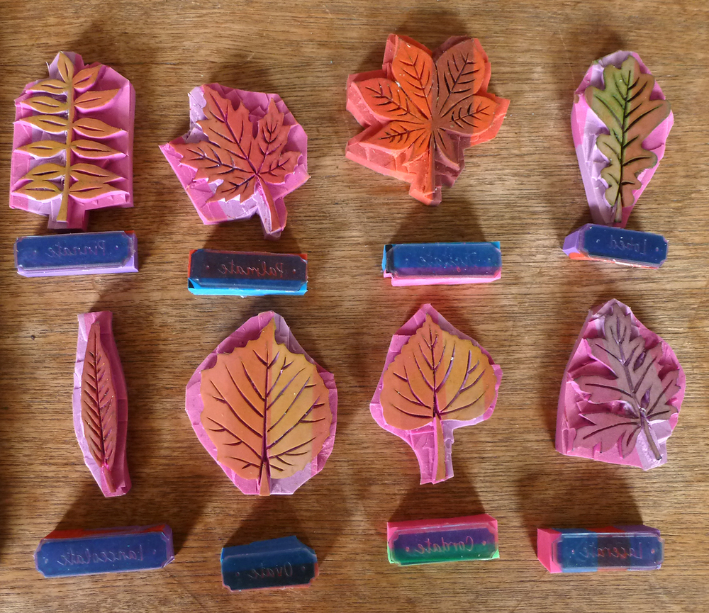 Hand carved rubber stamp leaves and photopolymer stamp labels