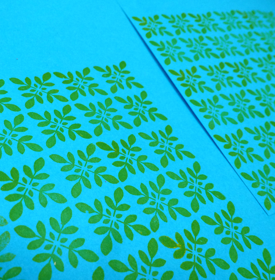 Endpapers printed with photopolymer stamp made from a hand drawn leaf pattern