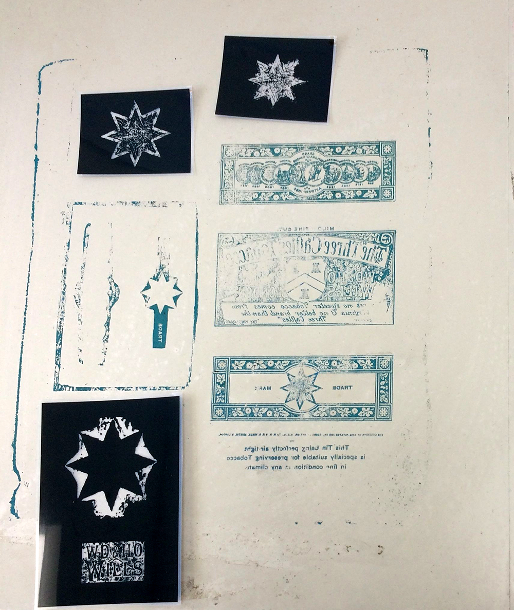 My chosen litho plate which I scanned to print acetates to create photo-polymer stamps.