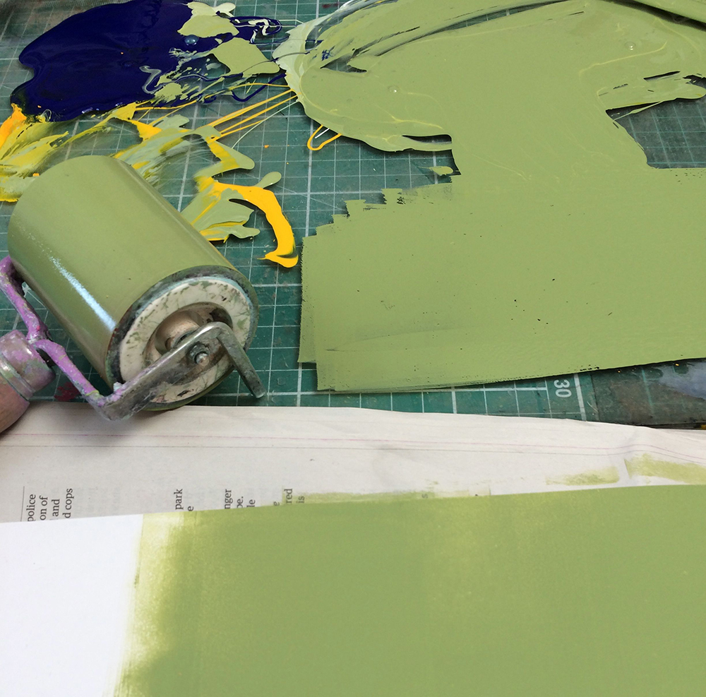 After a fruitless search for just the right green paper for a bellyband (to match the tobacco tin in which the book will sit) I decided to mix and roller my own colour.