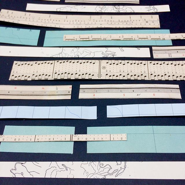 Making custom strips of tape with vintage papers and double sided tape.