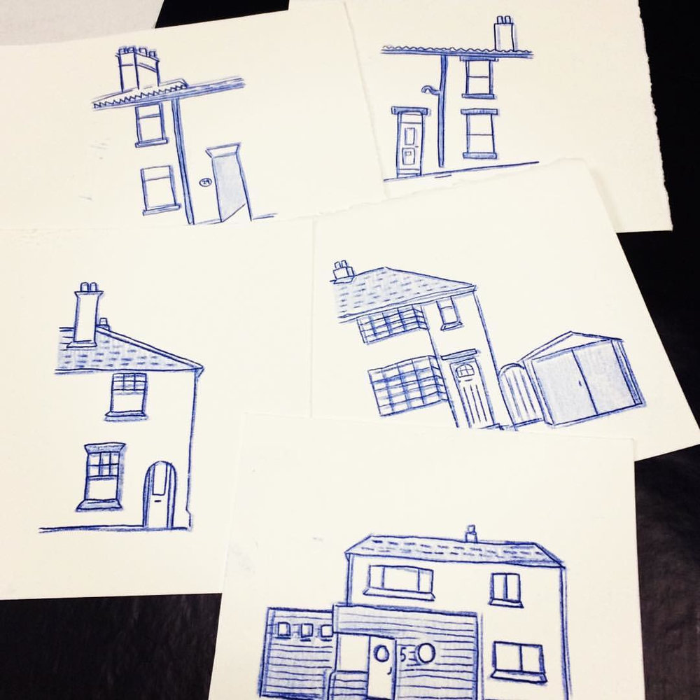 Carbon paper illustrations of my second five homes