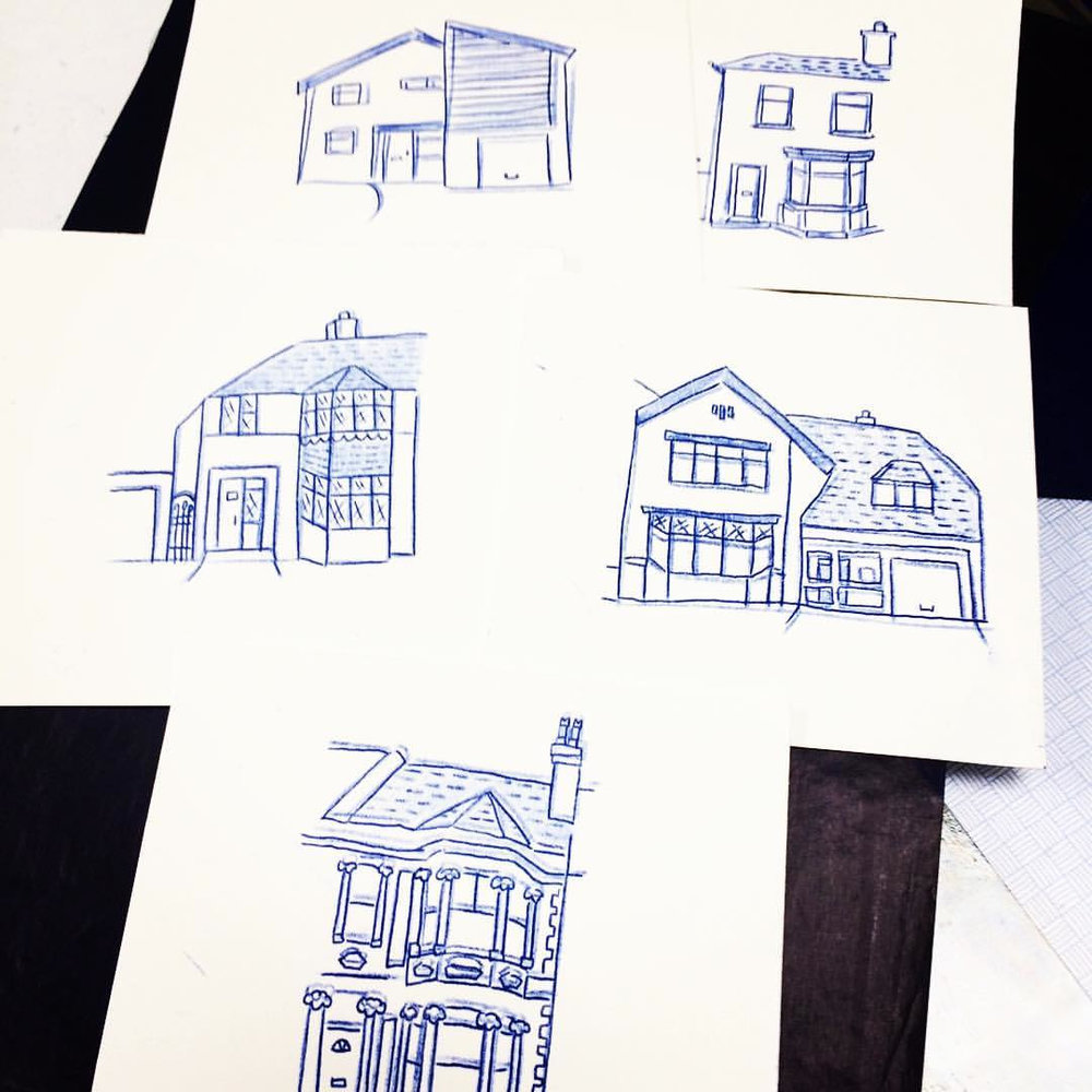 Carbon paper illustrations of my first five homes