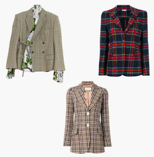 Snow Xue Gao tie-front double-breasted jacket, P.A.R.O.S.H. tartan classic blazer, Gucci plaid fitted blazer