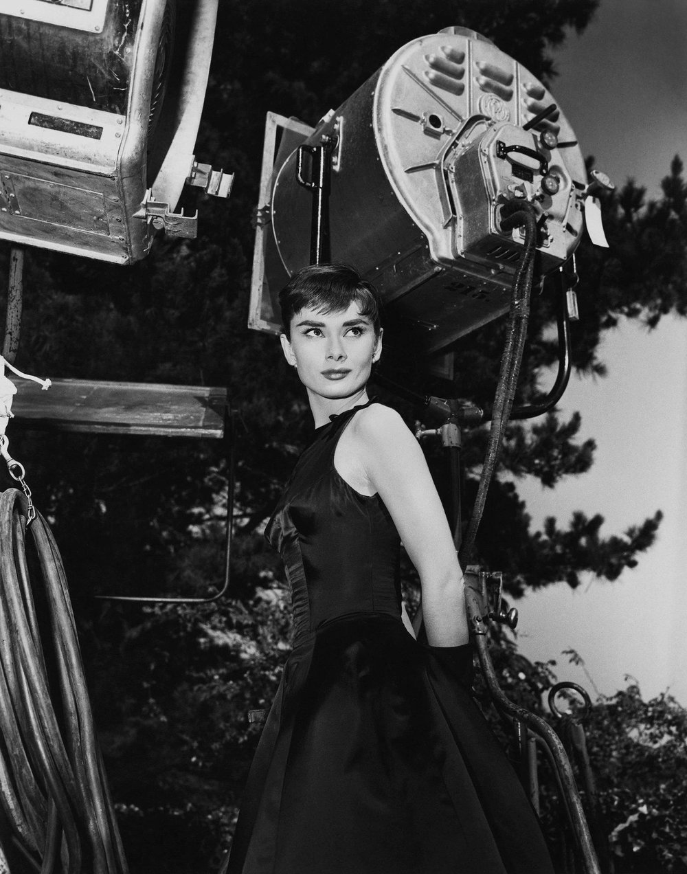 "Audrey Hepburn poses for a publicity still for the Paramount Pictures film ""Sabrina"" in 1954 in Los Angeles."
