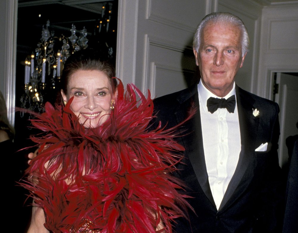 Ms. Hepburn with Mr. Givenchy in 1988 when he received the state of California's Lifetime Achievement Award.CreditRon Galella/WireImage, via Getty Images