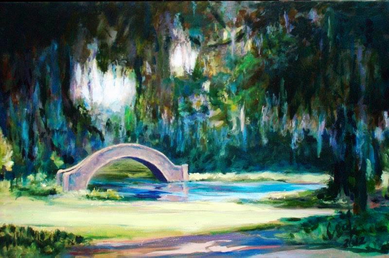 "BRIDGE IN CITY PARK, acry""lic on canvas. 24"" X 36"