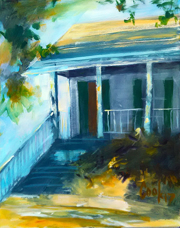 """HOUSE AND FOLAGE, acrylic on canvas, 24"""" X 30"""""""