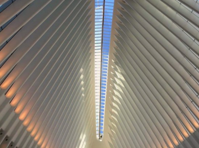 THE OCULUS, LOWER MANHATTAN TRANSPORTATION HUB, W  ITH THE FREEDOM TOWER RISING HIGH ABOVE, March 29, 2016