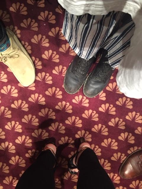 NBC logo carpets in the elevator!