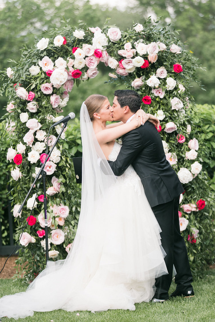 Greenwich connecticut wedding arch roses peonies pink white.jpg