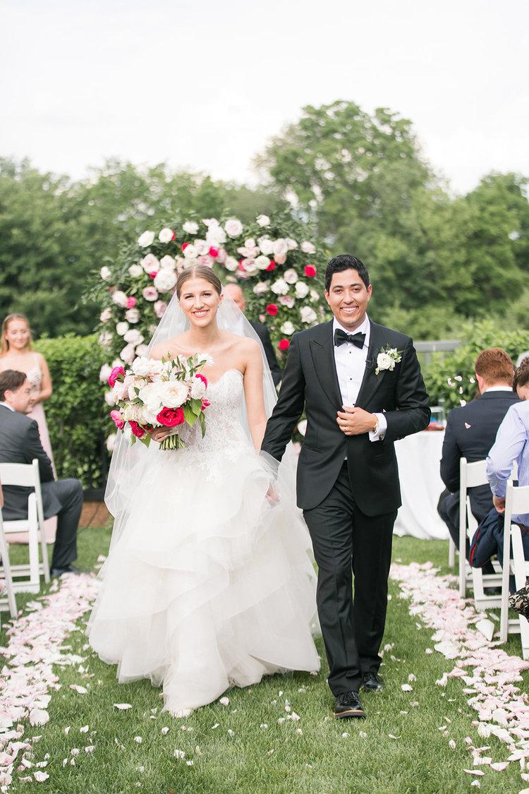 Greenwich Connecticut wedding bridal bouquet aisle petals pink roses peonies.jpg
