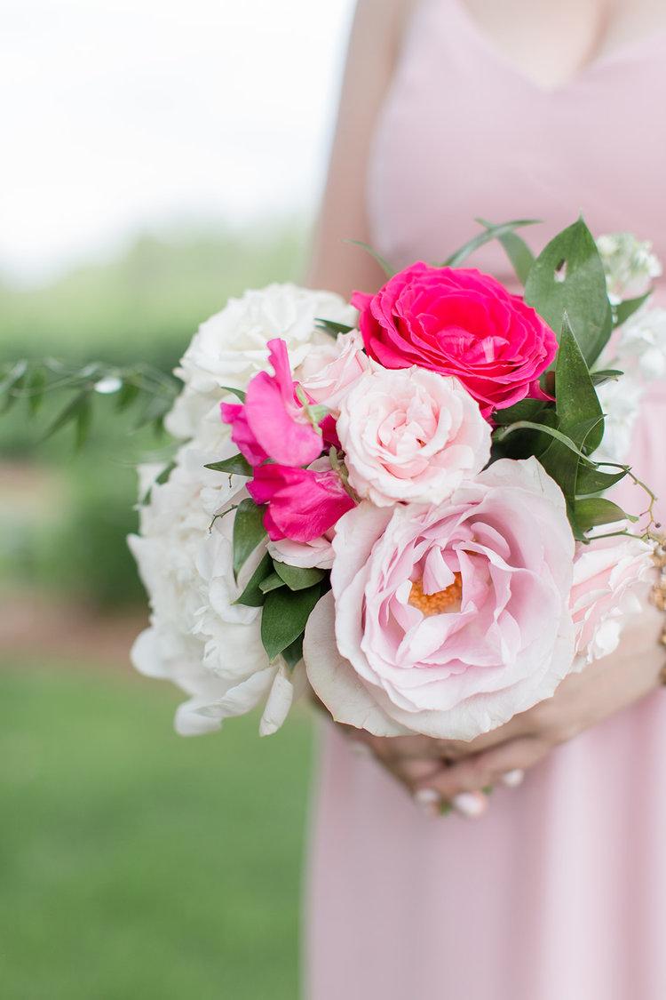 Greenwich Connecticut wedding bridesmaid bouquet pink roses.jpg