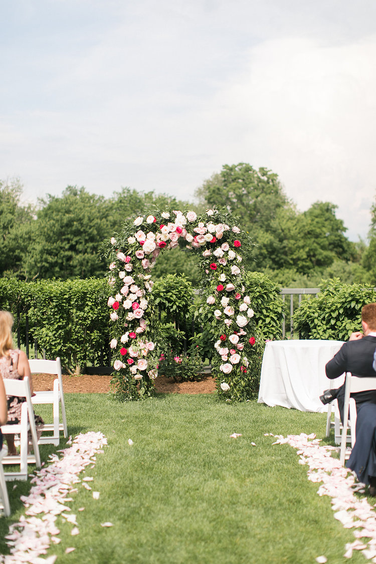 Greenwich Connecticut wedding ceremony arch aisle petals pink white roses.jpg