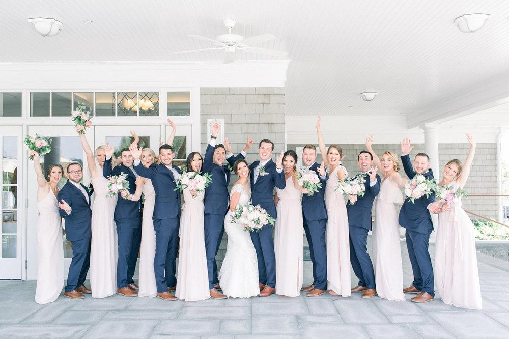 Shorehaven Golf Club wedding bridal party brideamaids groomsmen bouquets blush navy roses peonies.jpg