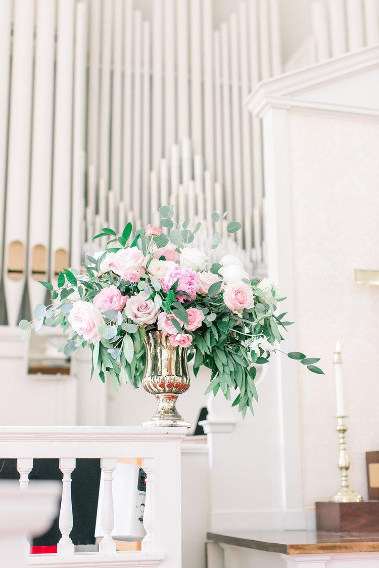 Shorehaven Golf Club wedding ceremony flowers pink peonies garden roses greens.jpg