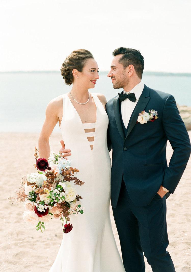 beach wedding bride groom boutonniere bridal bouquet.jpg