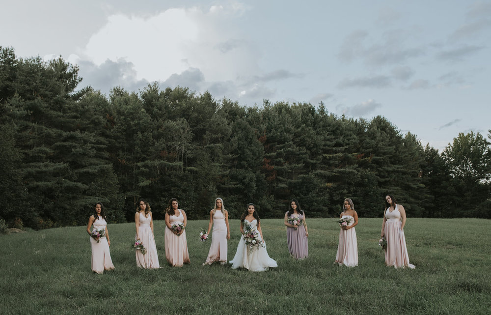 Flanagan farm maine wedding bridal party bridesmaids bouquets blush greens.jpg