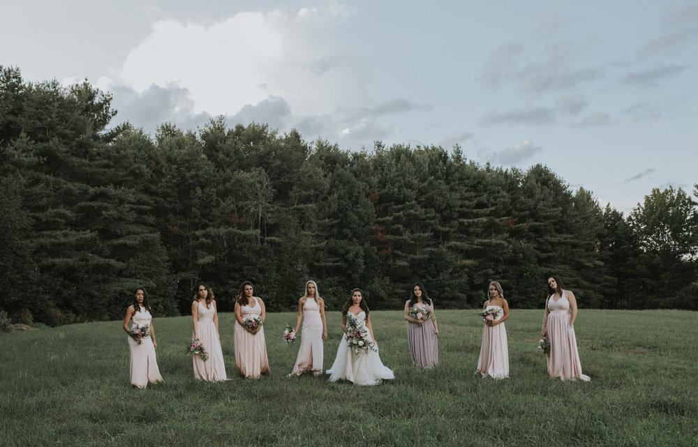 Flanagan farm maine wedding bridal party bridesmaids bouquets blush greens.jpg
