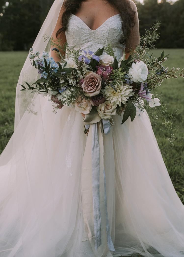 Flanagan farm maine wedding bride bridal bouquet dahlias roses clematis blush white.jpg