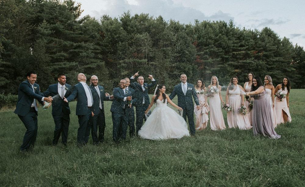 Flanagan farm maine wedding bridal party bridesmaids groomsmen boutonnieres bouquets blush.jpg