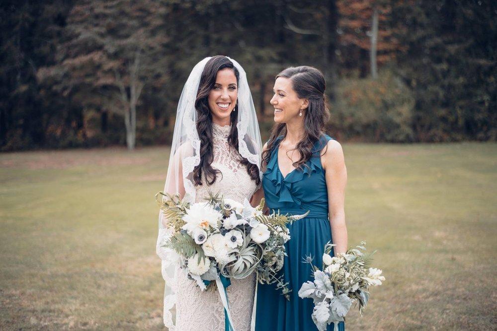 Woodstock Connecticut wedding bride bridesmaid bouquets bridal blue white green anenome peonies ferns.jpg
