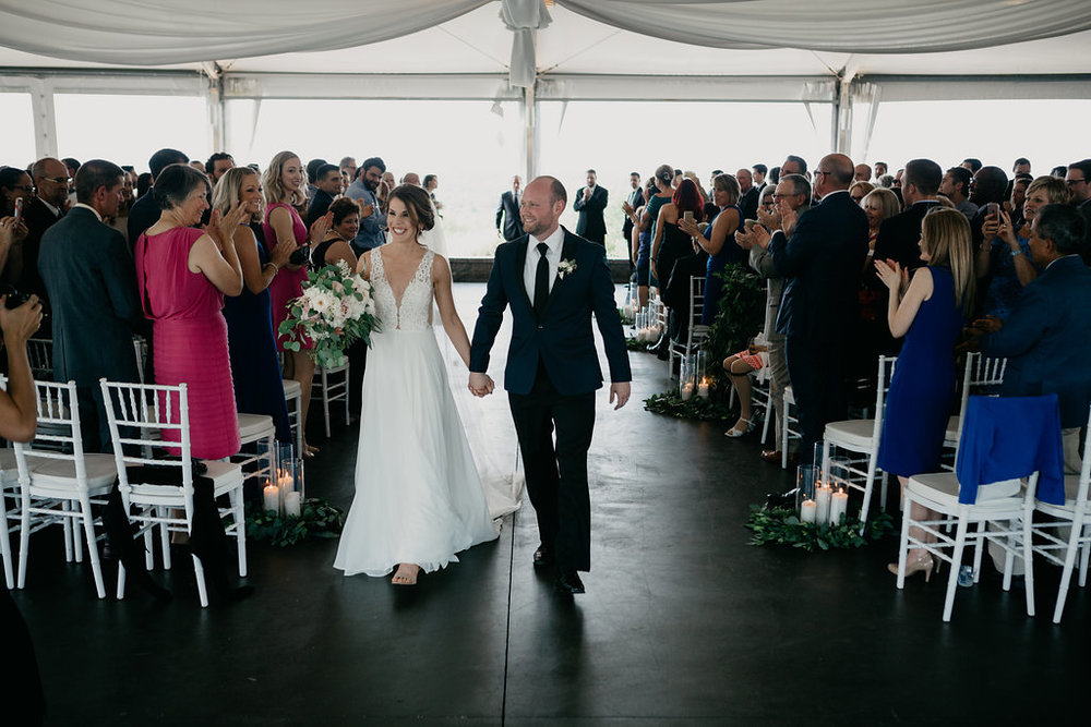 Golf Club boston wedding ceremony bride groom bridal bouquet boutonniere aisle candles.jpg