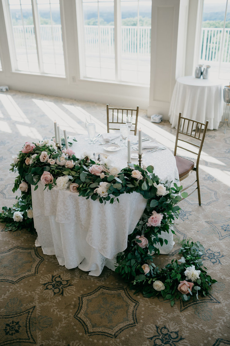 Golf Club boston wedding reception sweetheart table peonies roses blush white taper candles.jpg