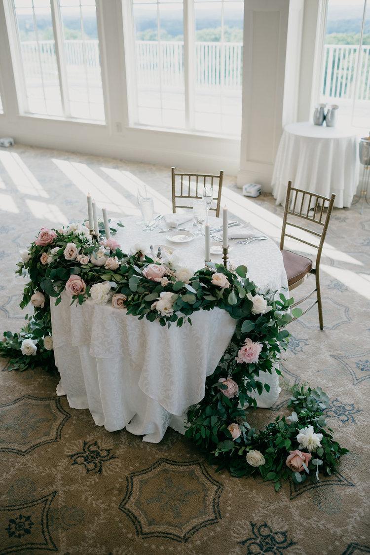 Golf Club boston wedding reception sweetheart table peonies roses blush white taper candles.jpg