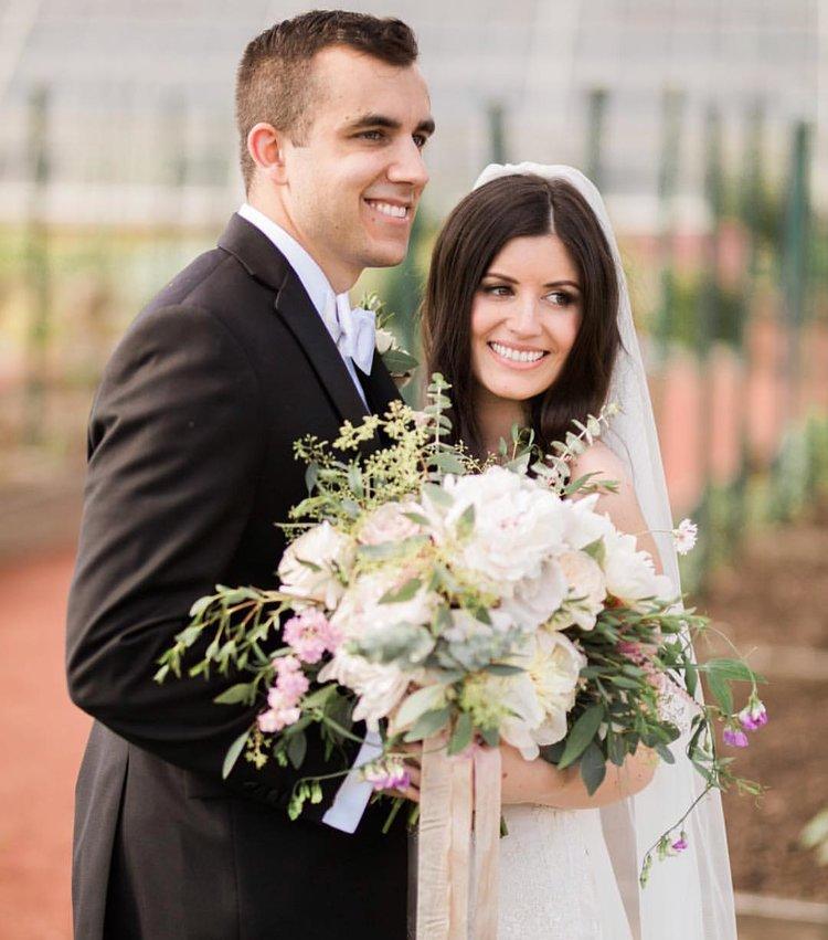 wedding bride and groom bridal bouquet peonies white blush greens .jpg