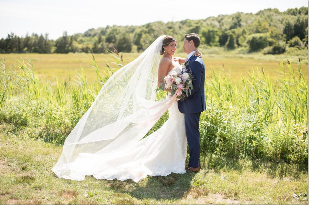 Saltwater Farm Vineyard wedding bride and groom bouquet ribbon pink white green dahlias.png