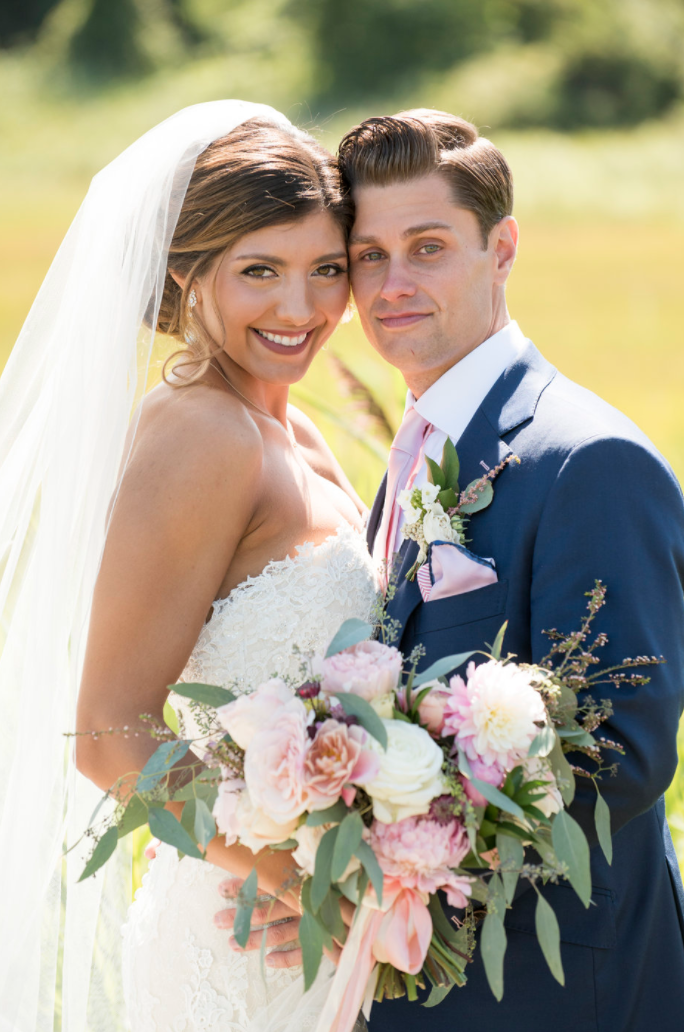 Saltwater Farm Vineyard wedding bride and groom boutoniere bridal bouquet eucalyptus dahlias roses.png