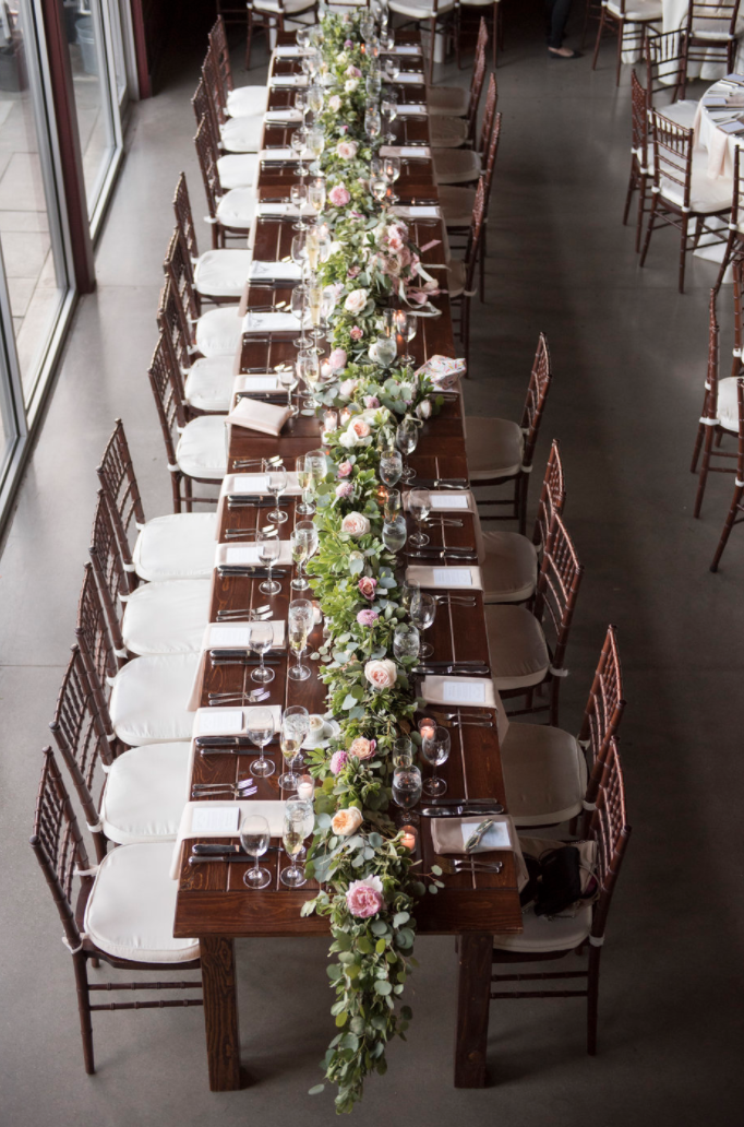 Saltwater Farm Vineyard wedding farm table garland centerpiece blush white roses.png